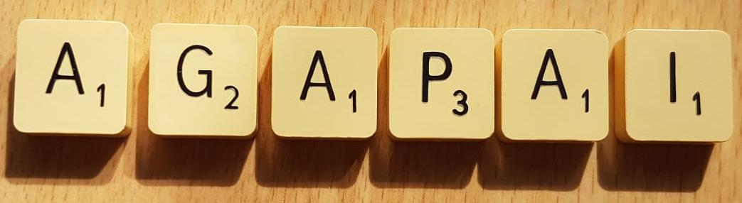 """""""Agapai"""" written in Scrabble letters"""